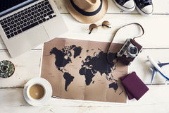 Travel planning concept on map Royalty Free Stock Image