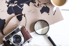 Travel planning concept on map Royalty Free Stock Images