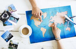Travel planning concept on map Stock Image