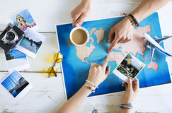 Travel planning concept on map Royalty Free Stock Photo