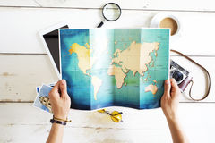 Travel planning concept on map Stock Photography