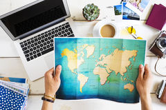 Travel planning concept on map Stock Photos