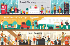 Travel Planning How To Plan Your Trip Hotel Booking flat interior outdoor concept web Stock Photo