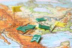 Travel planning map with flag pins Stock Images