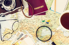 Travel planning. Passport, road map Stock Images