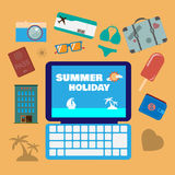 Travel planning summer holiday icon set. Stock Photos