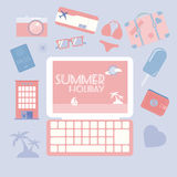 Travel planning summer holiday icon set. Stock Images