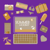 Travel planning summer holiday icon set. Stock Image