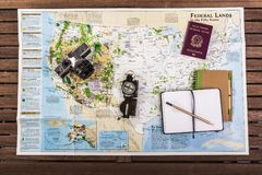 Travel planning. Top view of map Royalty Free Stock Photos
