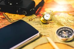 Travel planning vintage style. Flare light Stock Image