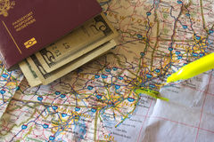 Travel plans. Travel concept - Detail of a map of the east coast of the United States of America, the city of New York being highlighted with a marker. A Stock Photos