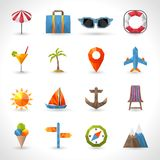 Travel Polygonal Icons Stock Images