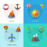 Travel Polygonal Set Royalty Free Stock Photo