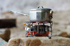 Travel portative gas stove Royalty Free Stock Photo