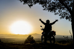 Travel and a positive day with motorcycle Stock Images