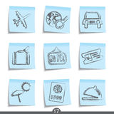 Travel post it icons..series no.17. Set of nine travel post it icons from a series Royalty Free Stock Photo