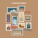 Travel Postage Stamps. Famous Buildings Royalty Free Stock Photography