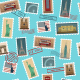 Travel Postage Stamps Seamless Pattern Stock Images