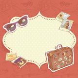 Travel postcard. With suitcase with stickers, sunglasses and photos Royalty Free Stock Image