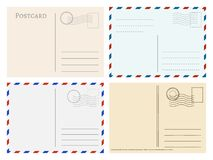 Travel postcard templates. Greetings post cards backside vector set. Postal empty blank for mail illustration Royalty Free Stock Images