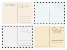Travel postcard templates. Greetings post cards backside vector set. Postal empty blank for mail illustration stock illustration