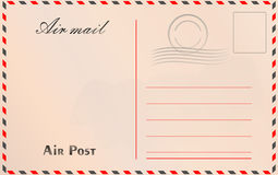 Travel postcard vector in air mail style with paper texture and. Rubber stamps Stock Photography