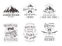 Travel postcards. Set of tourism banners with hand-lettering quotes. Royalty Free Stock Photos
