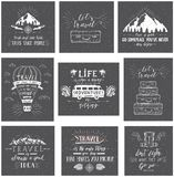 Travel postcards. Set of tourism banners with hand-lettering quotes. Hand drawn sketch vector illustrations of mountains, transports and baggage for t-shirts Stock Illustration