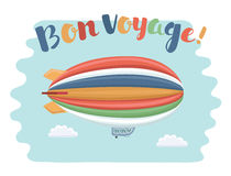 Travel poster with airship on the sky and Bon Voyage phrase. Vector cartoon funny illustration of travel poster with airship on the sky and Bon Voyage phrase Royalty Free Stock Photo