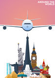 Travel poster. Around the world. Vacation. Trip to country. Travelling illustration. Modern  flat. Royalty Free Stock Image