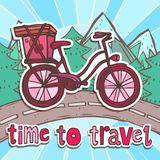 Travel poster with bicycle Royalty Free Stock Photos