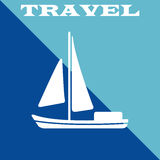 Travel poster. Boat icon. Vector illustration eps10 Royalty Free Stock Photo