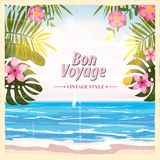 Travel poster concept. Have nice trip - Bon Voyage. Fancy cartoon style. Cute retro vintage tropical flowers. Banner. Travel poster concept. Have nice trip - Bon Stock Photography