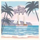 Travel poster concept. Have nice trip - Bon Voyage. Fancy cartoon style. Cute ship, retro vintage tropicalflowers.  Stock Photo