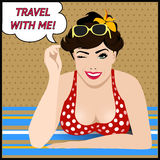 Travel poster with  pop art winking woman Stock Image