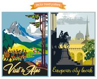 Travel poster s illustrations with vintage european holiday destinations vector illustration