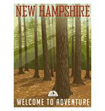 Travel poster or sticker. United States, New Hampshire forest. Retro style travel poster or sticker. United States, New Hampshire. Deep forest with sunlight vector illustration