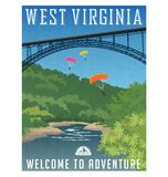 Travel poster or sticker. United States, West Virginia,. Retro style travel poster or sticker. United States, West Virginia, New River Gorge Bridge, Appalachian Stock Photo