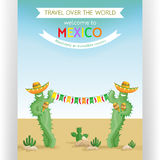 Travel poster template with smiling cacti in sombreros. Text customized for traveling to Mexico invitation. Colorful flags and desert mexican landscape. Flat Royalty Free Stock Images
