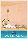 Travel poster to Australia. Vector flat illustration. Stock Illustration