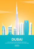 Travel poster to Dubai. Landmarks silhouettes. Vector illustration. Stock Photo