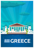 Travel poster to Greece. Vector flat illustration. Royalty Free Stock Image