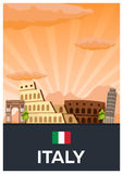 Travel poster to Italy. Vector flat illustration. Royalty Free Stock Photography