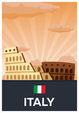 Travel poster to Italy. Vector flat illustration. Royalty Free Stock Image