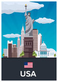 Travel poster to USA. Vector flat illustration. Royalty Free Stock Images