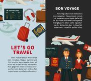 Travel poster of vector traveling or vacation trip flat icons. Travel poster for vacation or holiday trip vector flat design template. Airplane traveling and bon Stock Photos