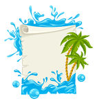 Travel poster with water splashes and palms Stock Photography