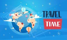 Travel Poster With Worlds Globe On Blue Background Retro Tourism Banner. Vector Illustration Vector Illustration