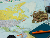 Travel preparations: Map with different items and location marke Royalty Free Stock Photography