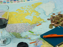 Travel preparations: Map with different items and location marke Stock Photo